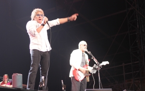 Roger Daltrey, left, and Pete Townshend perform in Abu Dhabi. (Photo by Kalpana Ramgopal)